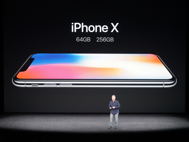 The all-glass iPhone X is introduced at an APple event Sept. 12 2017