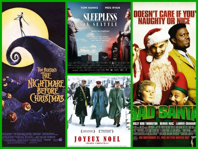 movie posters for the following films clockwise from left the nightmare before christmas walt disney pictures sleepless in seattle tristar - Christmas Movie Classics