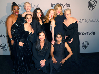 Actresses wear black at Golden Globes